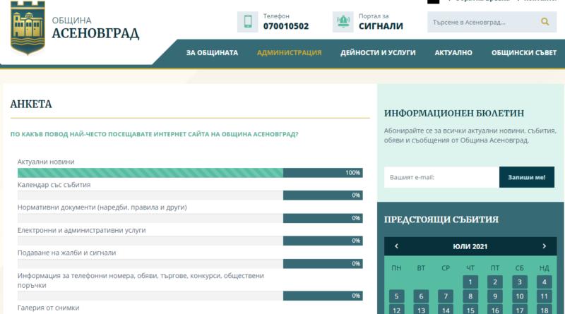 Проучват общественото мнение на асеновградчани чрез анкета в сайта на Общината
